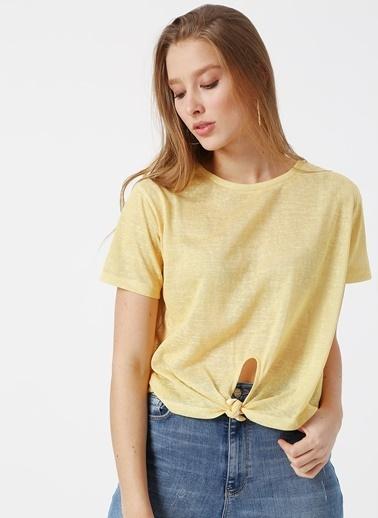 Koton Koton Beli Bağlamalı Sarı  T-Shirt Sarı